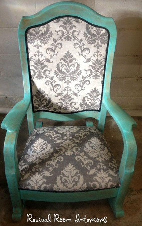 Beautiful Professional Refinished Reupholstered Antique Reupholster Antique Rocking  Chair