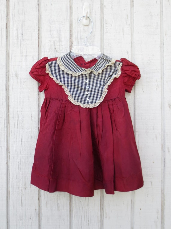 Sale Vintage 50's Baby Dress Baby Clothes Girl Maroon
