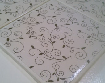 Black And White Filigree Coasters Four Piece Ceramic Tile Set