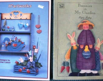 Alisa Liston Hartworks 2 Book Lot Bunnies in My Garden Mahy Tole Painting Books OOP