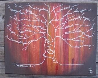 Lg.- Autumn Wood 1 Cor. 13 Love Tree Painting scripture painting, love painting, inspirational painting, Large Canvas
