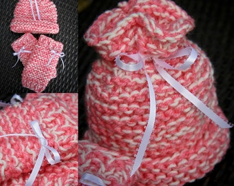 Pink and white variegated sack hat,leg warmers,newborn,gift,photo prop,hand knit,infant,white ribbon