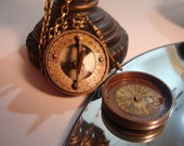 "1"" dark  brass sundial compass with removable top necklace with key charm. lay flat and use as compass. - OntheWingsofSteam"