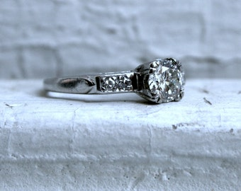 Vintage Platinum Diamond Engagement Ring - 0.97ct.
