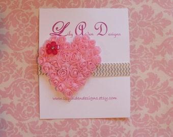 Light pink Chiffon heart on chevron print headband / Newborn headband/ Holiday headband