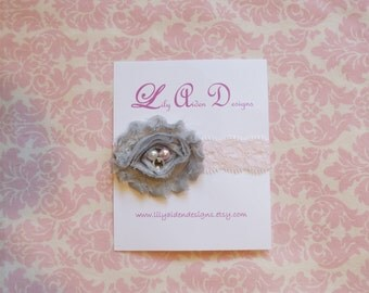 Gray jeweled shabby flower on lt pink lace headband/ Newborn headband/ baby headband