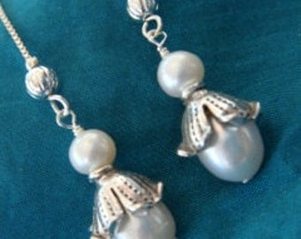 fresh water pearls with sterling silver threads and findings