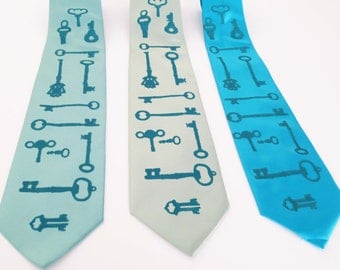 Skeleton Keys Tie Screen Printed Microfiber Necktie