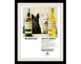 "1965 BLACK & WHITE Scottish Terriers Whisky Ad ""Deserves Another"" Vintage Advertisement  Print"