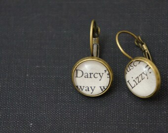Jane Austen 'Darcy' and 'Lizzy' earrings
