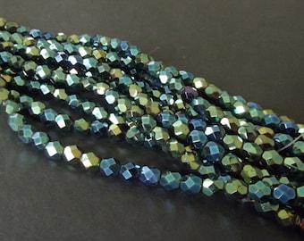 25 Iris Green 6mm Czech Glass Firepolished Beads