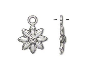 Antique Silver Pewter Daisy Flower Charms, 14x14mm - 10 charms