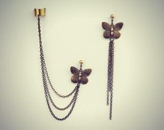butterfly ear cuff earrings, chains ear cuff, butterfly ear cuff, ear cuff with chains, dangle earrings