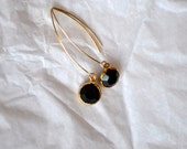 Vintage Jet Black Swaroski Gold Framed StoneEarrings