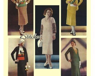 Ebook 1930s Minerva Boucle Suits Volume 26 - 12 Knit patterns booklet PDF Download 0026