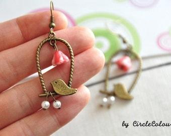 Bird Cage Earrings - Bird Cage & Pearls Dangle Earrings - Antique Bronze Earrings Hook