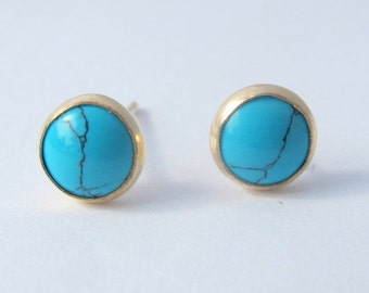 Turquoise studs, Gold filled earrings, Turquoise Earrings, Gemstone earrings, 6mm turquoise stone