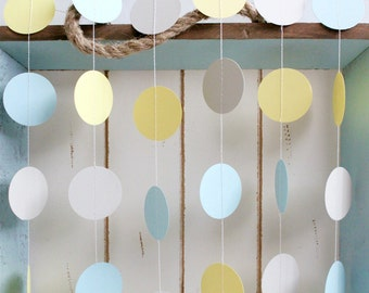 Light Blue, Yellow, Grey 12 ft Circle Paper Garland- Wedding, Birthday, Bridal Shower, Baby Shower, Party Decorations