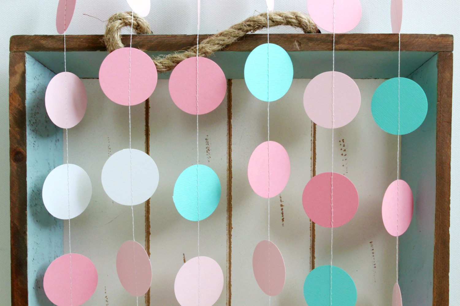 Turquoise Baby Shower Decorations Turquoise White Pink 12 Ft Circle Paper Garland Wedding