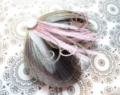 OLIVIA in Iris Grey and Light Pink Peacock Feather Hair Clip, Feather Fascinator