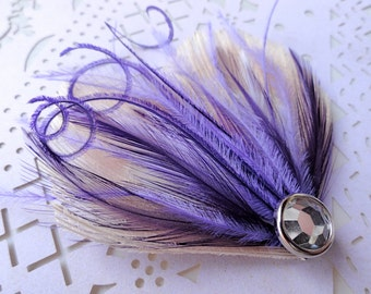 DREAM in Ivory, Dark Purple, and Lavender Peacock Feather Hair Clip, Feather Fascinator