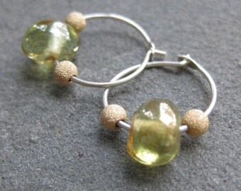 small GREEN glass and gold tiny sterling HOOP earrings