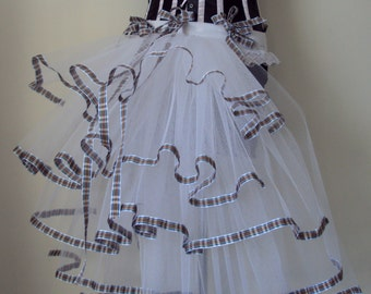 White, Black Tartan Burlesque  Bustle Belt TuTu skirt size 2 4 6 8 U.S 6 8 10 12 U.K.