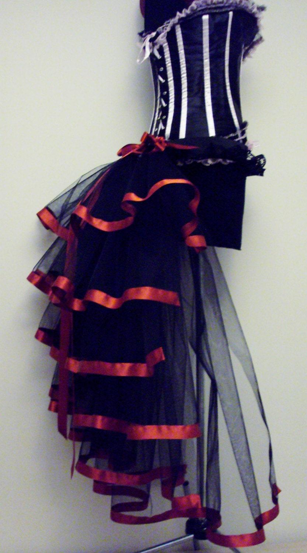 Black red burlesque steampunk bustle belt size us 2 4 6 8 10 - Steampunk bett ...