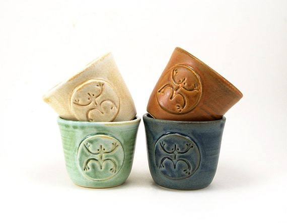 Ceramic Cup Set:  Four Coqui, Tree Frog Cups for Rum or Juice in Blue, Cream, Green and Brown.  Mothers Day, Wedding Gift, Unique Pottery