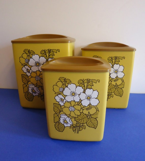vintage floral canister set kitchen