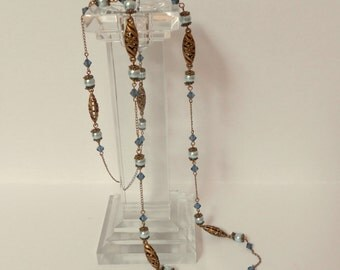 Blue and bronze glass pearl and Swarovski crystal long delicate necklace