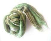 Felting Wool with Silk, Green Silk and Merino Wool, Wool and Silk Tops, Multicolored Wet Felting Wool, Needle Felting Wool