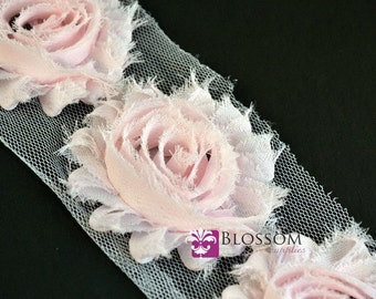 1/2 or 1 Yard Increment - PALE PINK - Shabby Chiffon Flower Rose Trim - DIY Fabric Flower Baby Headband