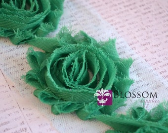 1/2 or 1 YARD Increment - EMERALD GREEN - Chiffon Shabby Rose Trim - diy headband flowers - Bridal Garter Roses - Wholesale Blossoms Crafts