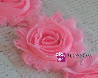 1/2 or 1 YARD Increment - STRAWBERRY PINK - Chiffon Shabby Rose Trim - diy headbands hair clips - bridal garter roses - wholesale supplies