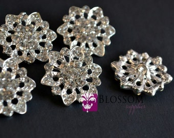 Metal Rhinestone Buttons Crystal Clear with Loop 20mm - Flower Centers - Wedding Bridal Prom  (BS103)