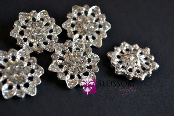 Metal Rhinestone Buttons Crystal Clear with Loop 20mm - Flower Centers - Wedding Bridal Prom