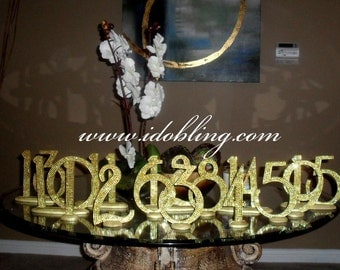 Gold Bling Crystal Rhinestone Wedding Reception Birthday Party Table Numbers