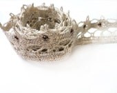 5 YARDS of Off White Crochet Lace Trim Ribbon with Embroidered Silver Lurex and Cabochons 0.9'' for Crafts, Sewing , Accessories