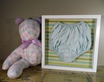 Vintage Shadow Box / Baby Boy Decor / Baby Clothes Display