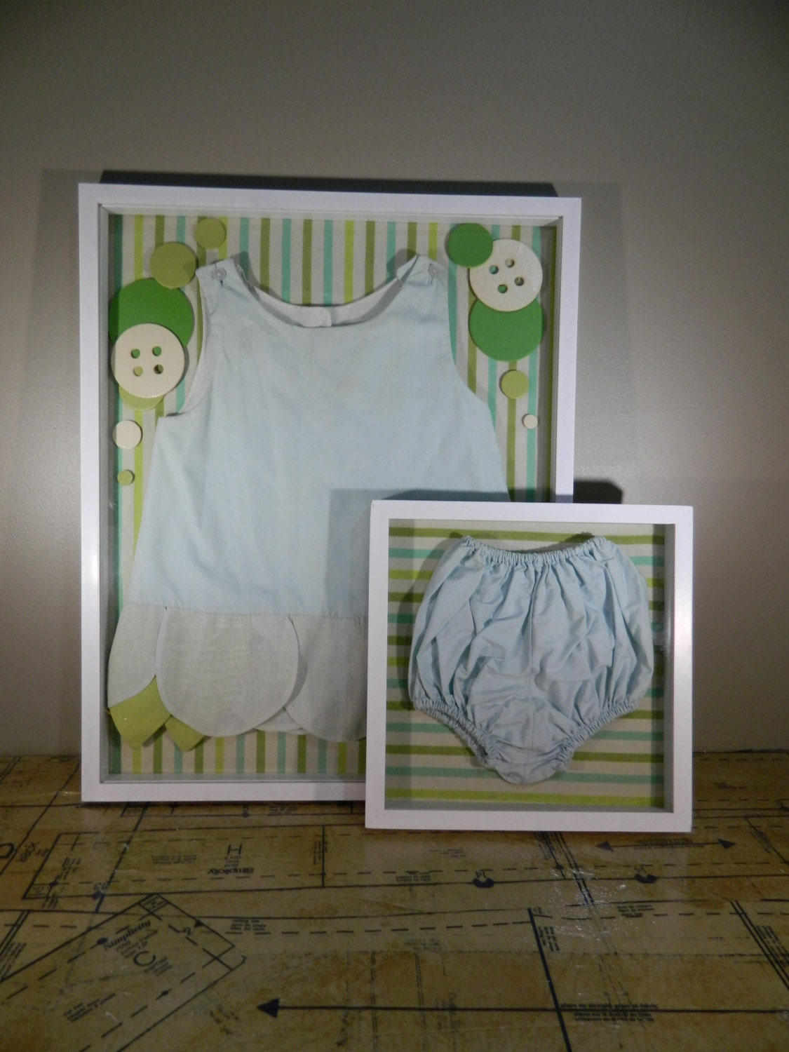 Vintage Shadow Box Baby Boy Decor Baby Clothes Display