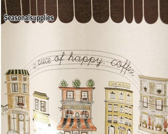 Cotton Linen Fabric for craft, Coffee Cup Coffee house, Brown Color,diy,fabric (QT112-A)