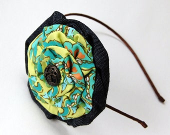 lime, aqua, coral, green double flower headband for women and girls