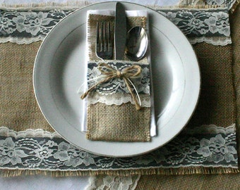 Burlap and lace table place settings