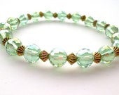 Peridot Green Crystal and Antique Gold Stretch Bracelet