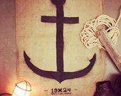 Handcrafted and Reclaimed Burlap Anchor Wall Art - Sack - Rug