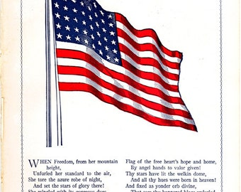 old illustration of the American flag, a vintage print from a 1920's children's encyclopedia