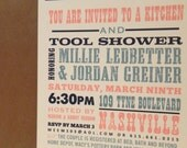 Kitchen and Tool Shower / His and Hers / Southern / Bridal Shower / Country Band Poster Hatch / Custom Design by Darby Cards