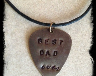 "Men's or Unisex Black Cotton Cord Necklace with Hand Stamped ""BEST DAD ever""  Brass Tag"