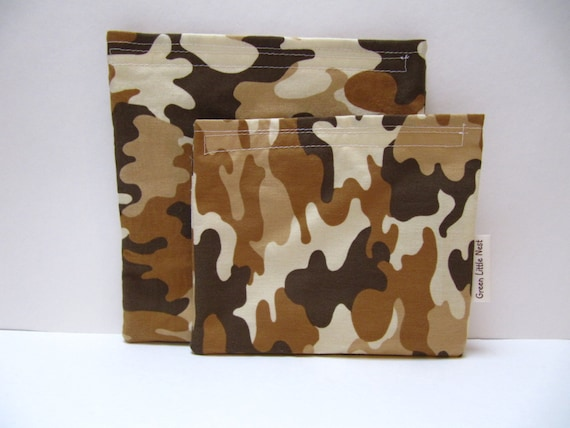 Reusable Sandwich Bag Set, Camo Snack Bag, Army Camouflage Sandwich Snack Bag Set